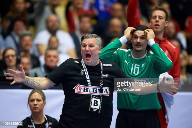 Nikolaj Jacobsen, head coach of Denmark show frustrations during the IHF Men's World Championships Handball Final between Denmark and Norway in Jyske...