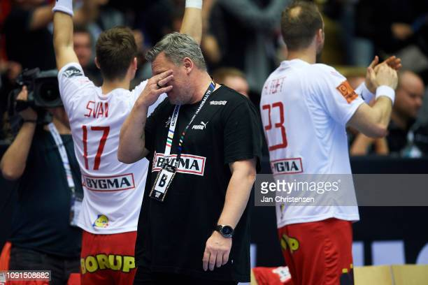 Nikolaj Jacobsen, head coach of Denmark shows emotions in the last minutes of the IHF Men's World Championships Handball Final between Denmark and...