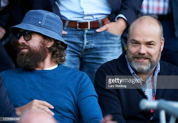 Nikolaj Lie Kaas, actor and Anders Holch Povlsen , owner of Bestseller on the VIP stand prior to the Danish 3F Superliga match between FC Midtjylland...