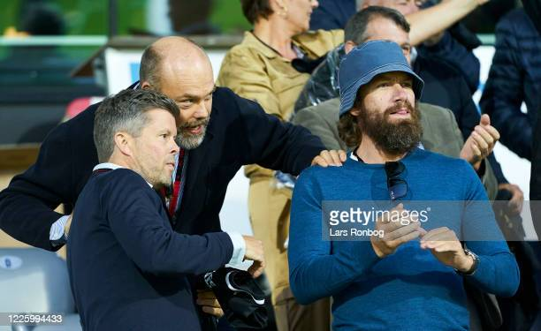 Nikolaj Lie Kaas , actor and Anders Holch Povlsen , owner of Bestseller on the VIP stand prior to the Danish 3F Superliga match between FC...