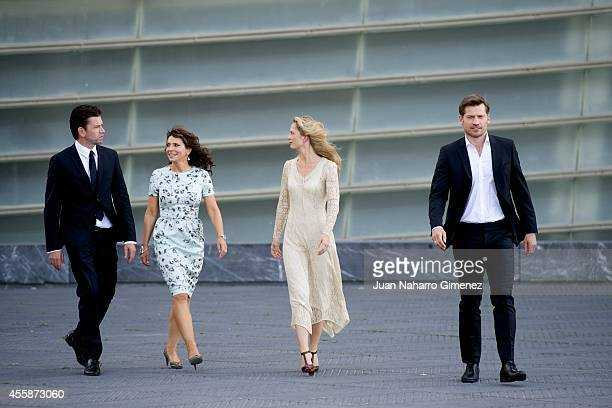 Nikolaj Lie Kaas Susanne Bier Maria Bonnevie and Nikolaj CosterWaldau attend 'En Chance Til/A Secon Chance' photocall during 62nd San Sebastian...