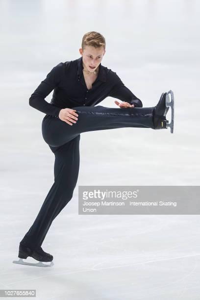 Nikolaj Majorov of Sweden competes in the Junior Men's Short Program during the ISU Junior Grand Prix of Figure Skating Amber Cup 2018 at Zalgirio...