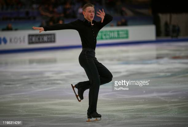 Nikolaj Majorov of Sweden during Short Programme for Men at ISU European Figure Skating Championships in Steiermarkhalle Graz Austria on January 22...