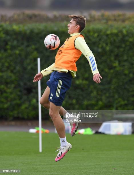 Nikolaj Moller of Arsenal trains during the Arsenal U23 training session at London Colney on October 20, 2020 in St Albans, England.