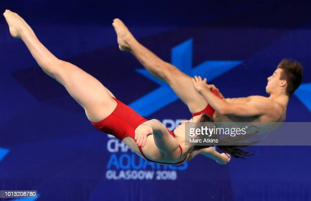 Nikolaj Schaller and Selina Staudenherz of Austria compete in the Mixed Synchronised 3m Springboard final during the diving on Day seven of the...