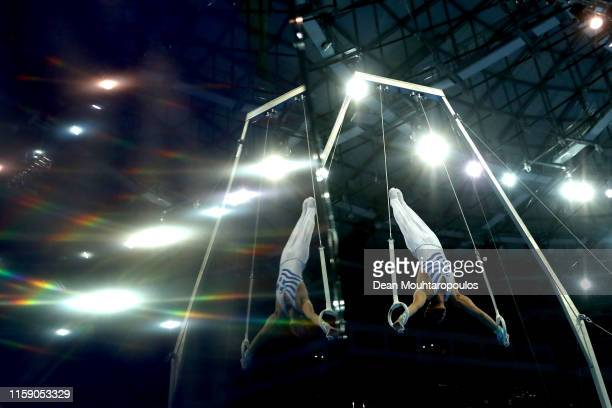 Nikolaos Iliopoulos of Greece competes on the Rings during the Artistic Gymnastics Men's AllAround Finals event during Day nine of the 2nd European...