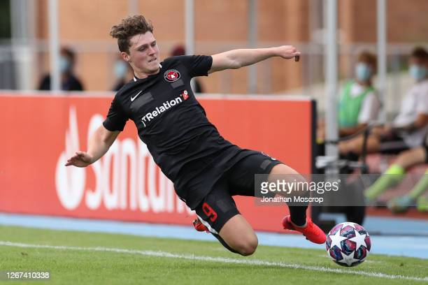 Nikolas Dyhr of Midtylland during the UEFA Youth League Quarter Final match between Midtjylland v Ajax at Colovray Sports Centre on August 18, 2020...