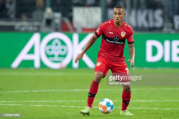 Nikolas Nartey of VfB Stuttgart controls the ball during the Bundesliga match between Borussia Mönchengladbach and VfB Stuttgart at Borussia-Park on...