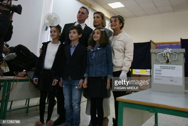 Nikolas Papadopoulos the son of a former president of Cyprus and candidate in the 2018 presidential election poses for a picture with his wife...