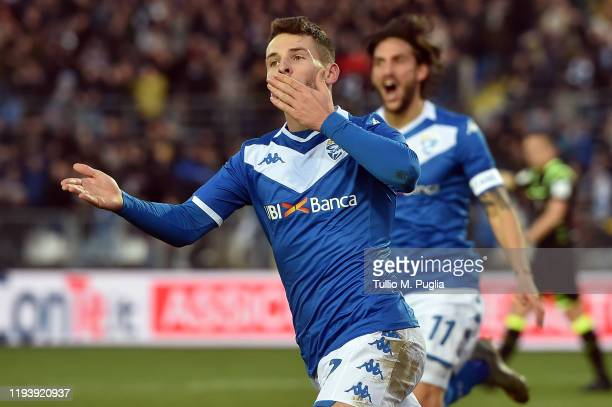 Nikolas Spalek of Brescia celebrates after scoring his team's third goal during the Serie A match between Brescia Calcio and US Lecce at Stadio Mario...