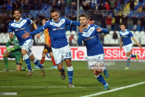Nikolas Spalek of Brescia celebrates after scoring his team's third goal during the Serie A match between Brescia Calcio and US Lecce at Stadio Mario...