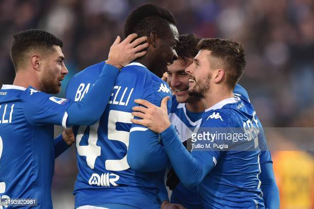 Nikolas Spalek of Brescia celebrates with Mario Balotelli after scoring his team's third goal during the Serie A match between Brescia Calcio and US...