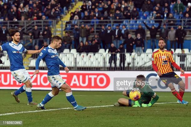 Nikolas Spalek of Brescia scores his team's third goal during the Serie A match between Brescia Calcio and US Lecce at Stadio Mario Rigamonti on...