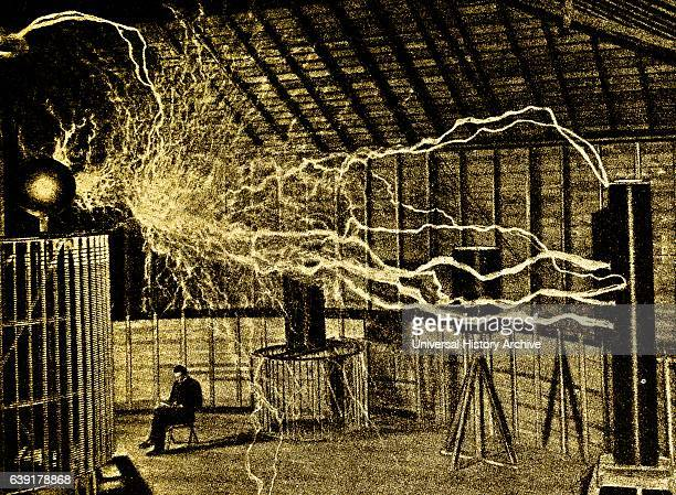 Nikolas Tesla's laboratory Colorado Springs circa 1900 showing his manmade lightning flashes
