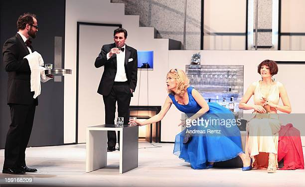 Nikolaus Szentmiklosi, Ivan Vrgoc, Maria Furtwaengler and Nicole Marischka perform during the 'Geruechte...Geruechte...' photo rehearsal at Komoedie...