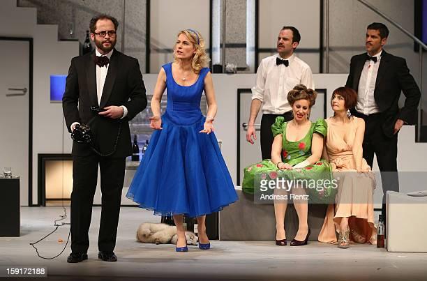 Nikolaus Szentmiklosi Maria Furtwaengler Urs Staempfli Alessija Lause Nicole Marischka and Pasquale Aleardi perform during the 'GeruechteGeruechte'...