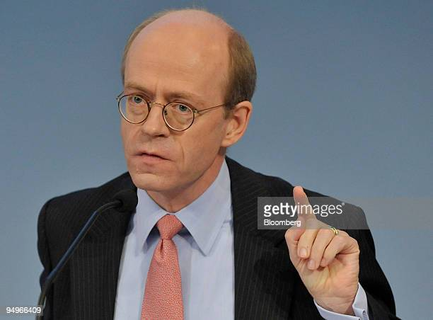 Nikolaus von Bomhard chief executive officer of Munich Re gestures while speaking at a news conference in Munich Germany on Tuesday Aug 4 2009 Munich...