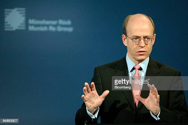 Nikolaus von Bomhard chief executive officer of Munich Re speaks during the presentation of the company's 2007 results in Munich Germany on Monday...