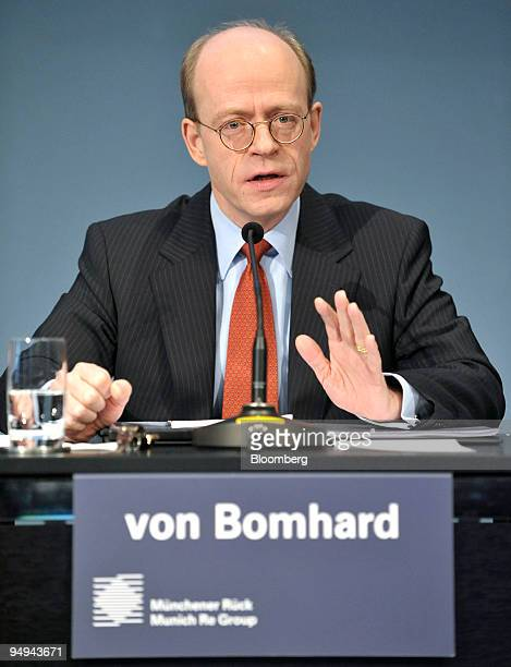 Nikolaus von Bomhard chief executive officer of Munich Re speaks during the presentation of the company's results in Munich Germany on Tuesday March...