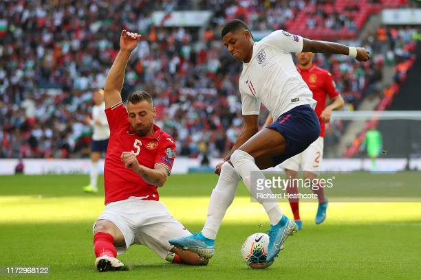 Nikolay Bodurov of Bulgaria brings down Marcus Rashford of England which leads to England being awarded a Penalty during the UEFA Euro 2020 qualifier...