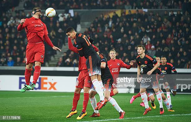 Nikolay Bodurov of FC Midtjylland in action during the UEFA Europa League match between FC Midtjylland and Manchester United at MCH Arena on February...