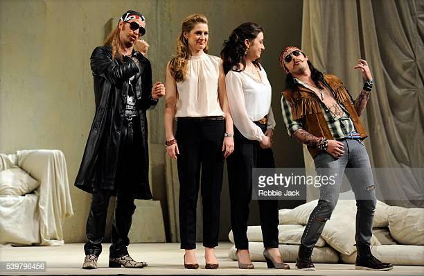 Nikolay Borchev as Guglielmo Malin Bystrom as Fiordiligi Michele Losier as Dorabella and Charles Castronovo as Ferrando in the Royal Opera's...