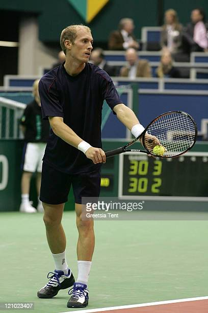 Nikolay Davydenko in action against Greg Rusedski during their second round match during the ABN AMRO World Tennis Tournament at the Ahoy' in...