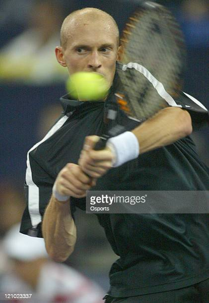 Nikolay Davydenko in action during his day two match with Tommy Robredo, Shanghai Tennis Masters Cup in Shanghai on November 13, 2006.