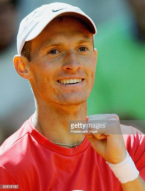 Nikolay Davydenko of Russia celebrates after his winning match against Filippo Volandri of Italy during the Masters Series Hamburg at Rothenbaum on...