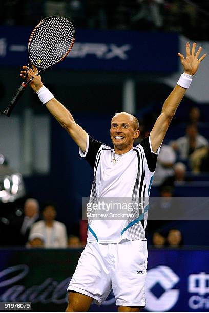 Nikolay Davydenko of Russia celebrates match point against Rafael Nadal of Spain during the final on day eight of the 2009 Shanghai ATP Masters 1000...