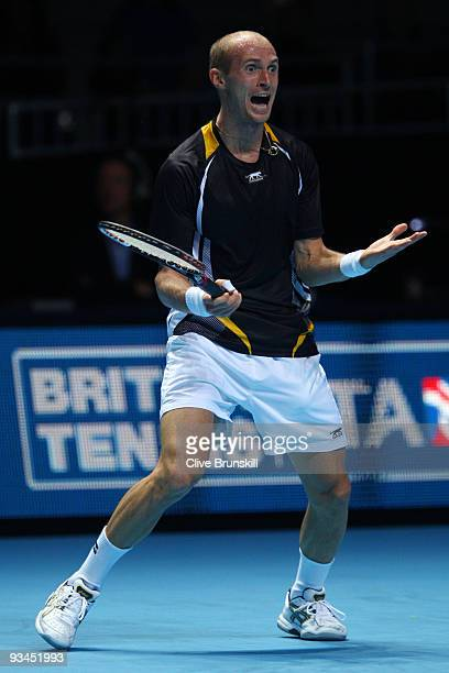 Nikolay Davydenko of Russia celebrates winning the match during the men's singles round robin match against Robin Soderling of Sweden during the...