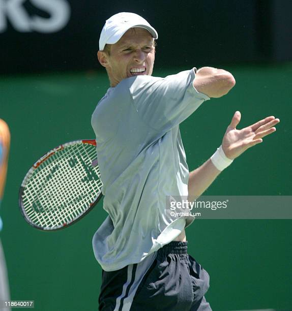 Nikolay Davydenko of Russia during his 2005 Australian Open Fourth Round match against Guillermo Canas of Argentina. Davydenko won in straight sets...