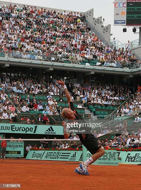 Nikolay Davydenko, of Russia, in action, during his 7-5, 7-6, 7-6 loss to Roger Federer of Switzerland, in the semi final of the 2007 French Open in...