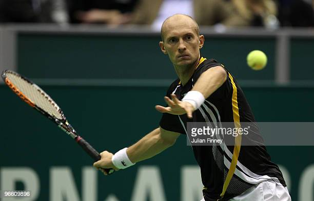 Nikolay Davydenko of Russia in action in his match against Jurgen Melzer of Austria during day five of the ABN AMBRO World Tennis Tournament on...