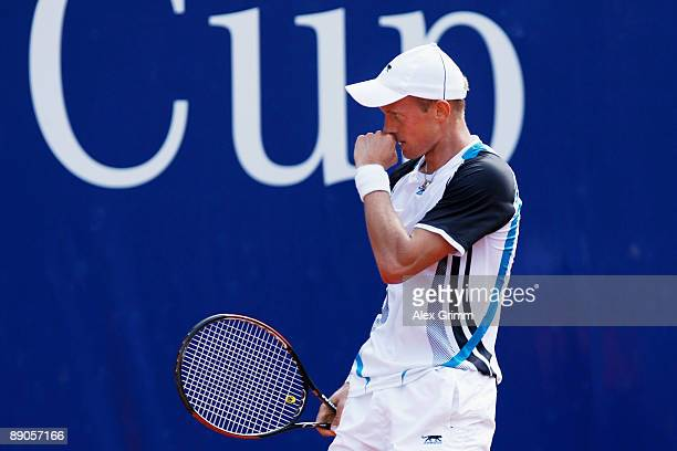 Nikolay Davydenko of Russia reacts after winning his match against Michael Berrer of Germany during the MercedesCup at TC Weissenhof on July 16 2009...