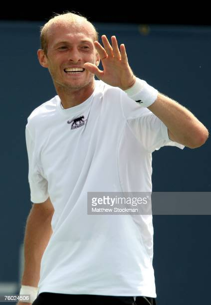 Nikolay Davydenko of Russia reacts to a point against Jarkko Nieminen of Finland during the Coupe Rogers August 8, 2007 at Stade Uniprix in Montreal,...