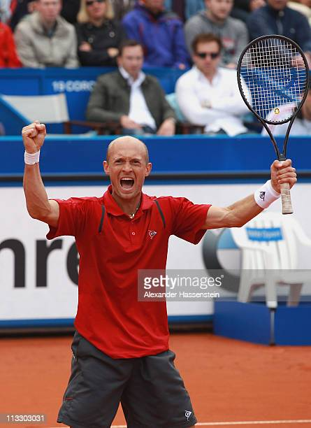 Nikolay Davydenko of Russia winning his final match against Florian Mayer of Germany at BMW Open at the Iphitos tennis club on May 1, 2011 in Munich,...