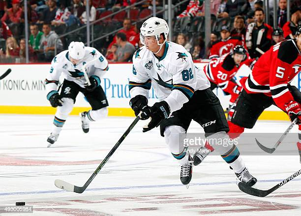 Nikolay Goldobin of the San Jose Sharks playing in his first NHL game  controls the puck b0990952c