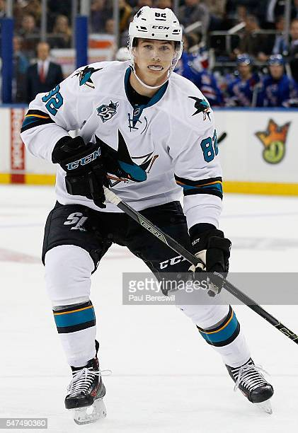 Nikolay Goldobin of the San Jose Sharks plays against the New York Rangers  at Madison Square eeefd34c9