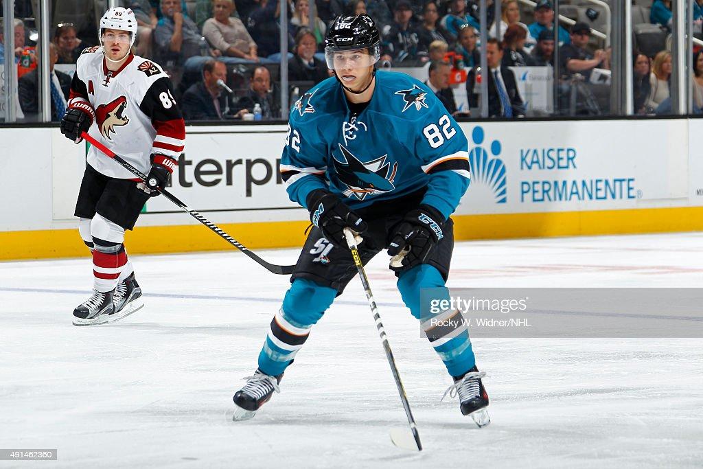 Nikolay Goldobin #82 of the San Jose Sharks skates against the Arizona Coyotes at SAP Center on September 25, 2015 in San Jose, California.