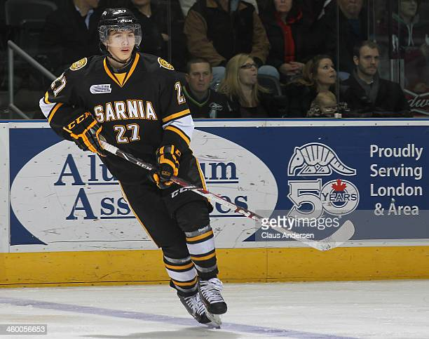 Nikolay Goldobin of the Sarnia Sting skates against the London Knights during an OHL game at Budweiser Gardens on December 31 2013 in London Ontario...