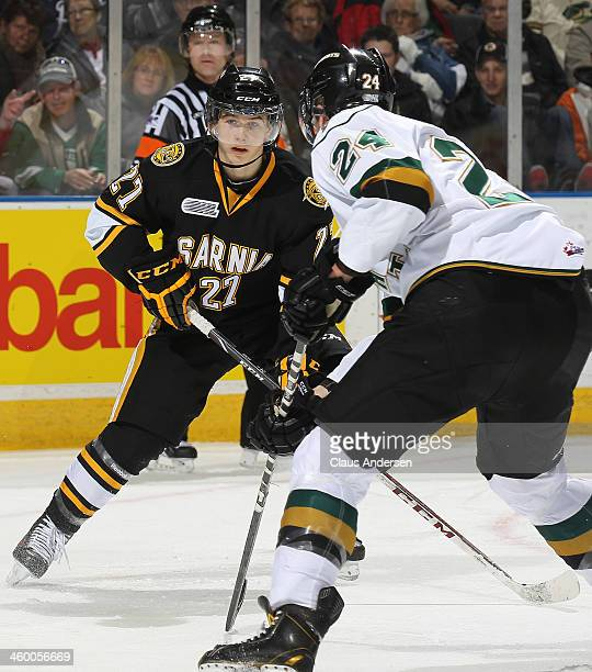Nikolay Goldobin of the Sarnia Sting waits for a pass against the London Knights during an OHL game at Budweiser Gardens on December 31 2013 in...