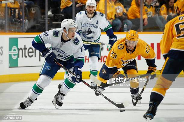 Nikolay Goldobin of the Vancouver Canucks skates against Rocco Grimaldi of  the Nashville Predators at Bridgestone dab1dd4da