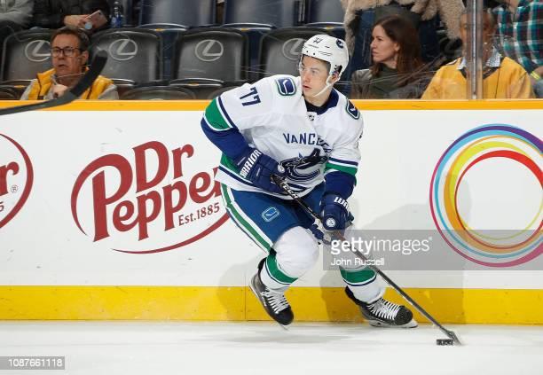 Nikolay Goldobin of the Vancouver Canucks skates against the Nashville  Predators at Bridgestone Arena on December bf7bb20a5