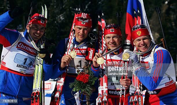 Nikolay Kruglov Dmitri Iarochenko Maxim Tchoudov and Ivan Tcherezov of Russia celebrate winning the gold medal of the Men's 4 x 75 Relay in the...