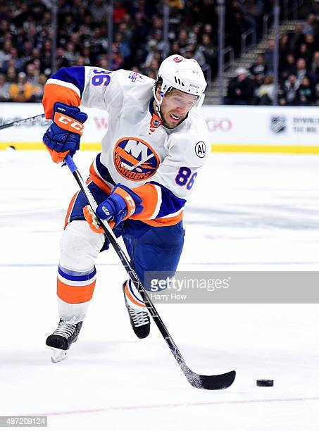 Nikolay Kulemin of the New York Islanders makes a play against the Los Angeles Kings at Staples Center on November 12 2015 in Los Angeles California