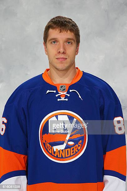 Nikolay Kulemin of the New York Islanders poses for his official headshot for the 20162017 season at the Barclays Center on October 21 2016 in...