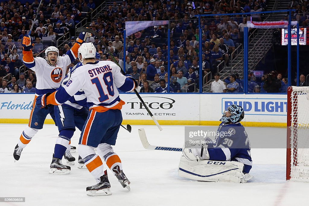 Nikolay Kulemin #86 of the New York Islanders reacts after scoring a goal on Ben Bishop #30 of the Tampa Bay Lightning during the first period in Game Two of the Eastern Conference Second Round during the 2016 NHL Stanley Cup Playoffs at Amalie Arena on April 30, 2016 in Tampa, Florida.