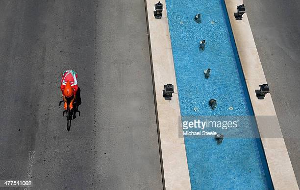 Nikolay Mihaylov of Bulgaria competes in the Men's Road cycling Individual Time trial during day six of the Baku 2015 European Games at Bilgah Beach...