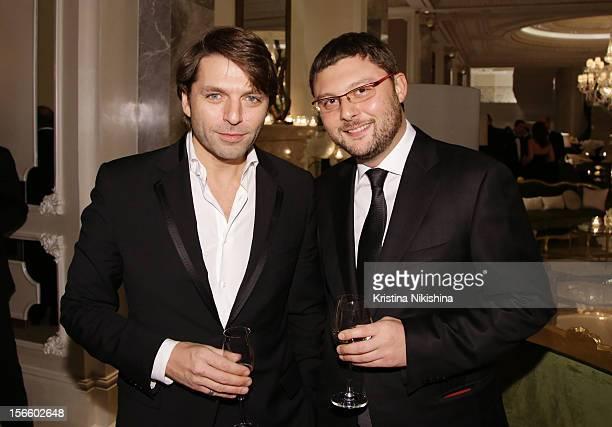 Nikolay Uskov and Vasily Tsereteli arrive at the launch of the Four Seasons Hotel Baku on November 17 2012 in Baku Azerbaijan